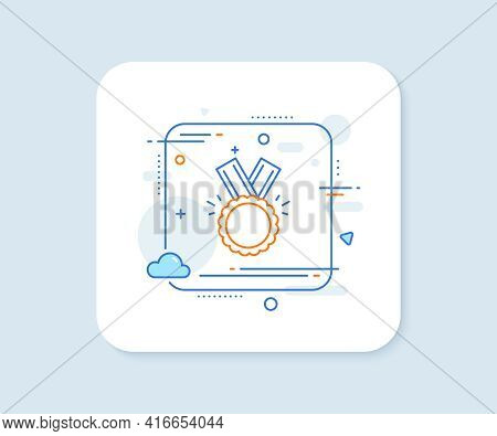 Award Medal Line Icon. Abstract Square Vector Button. Winner Achievement Symbol. Glory Or Honor Sign