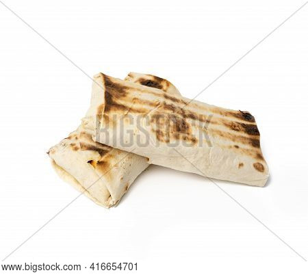 Wrapped Food In Pita Bread, Shawarma Isolated On White Background, Close Up
