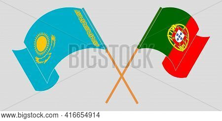 Crossed And Waving Flags Of Kazakhstan And Portugal
