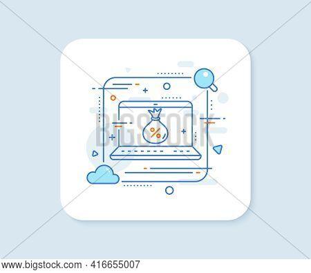 Loan Line Icon. Abstract Vector Button. Money Bag Sign. Credit Percentage Symbol. Loan Line Icon. La