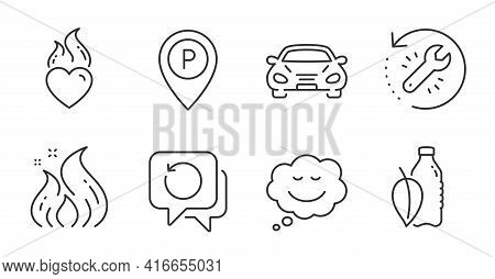 Recovery Tool, Water Bottle And Recovery Data Line Icons Set. Fire Energy, Parking And Speech Bubble