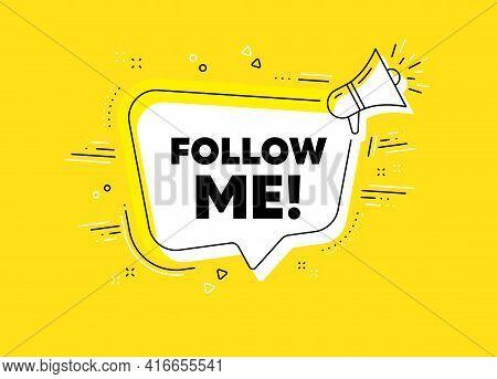 Follow Me Symbol. Megaphone Yellow Vector Banner. Special Offer Sign. Super Offer. Thought Speech Bu