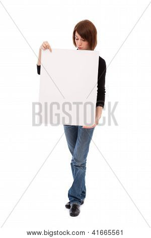 Casual Woman With Blank Board