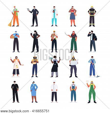 Set Mix Race People Of Different Occupations Wearing Masks To Prevent Coronavirus Pandemic Labor Day