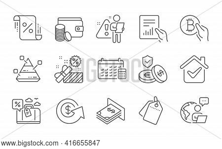 Bitcoin Pay, Sale Tags And Payment Method Line Icons Set. Atm Money, Savings Insurance And Loan Perc