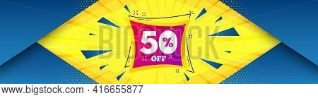Sale 50 Percent Off Banner. Abstract Background With Offer Message. Discount Sticker Shape. Coupon B