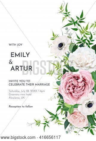 Elegant Editable Vector Floral Watercolor Wedding Invite, Greeting Card, Save The Date. Dusty Pink M