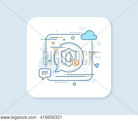 Waterproof Line Icon. Abstract Square Vector Button. Water Resistant Sign. Liquid Drop Protection Sy