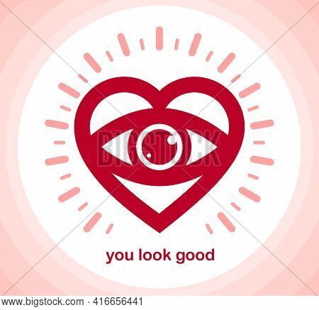 You Look Great Concept Cheerful Greeting Vector Design Element, Compliment Stylish Retro Design Crea