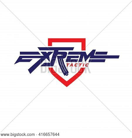 Extreme Tactic Wordmark In Rifle Shape Design