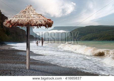 Walk Along The Beach Of The Black Sea