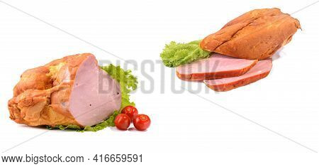 Smoked Pork Loin,pork Garnished With Cherry Tomatoes And Lettuce Leaves.a Set Of Two Images. Isolate