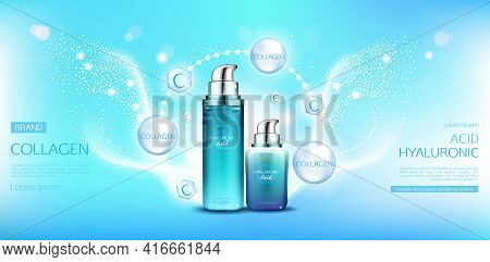 Hyaluronic Acid Collagen Cosmetics Packages Mock Up. Beauty Moisturize Skin Cosmetic Products Bottle