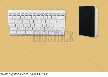 Serie Concept Of Office Objects On Colorful Table Background