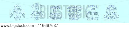 Set Of Swirl Best Wishes Cartoon Icon Design Template With Various Models. Modern Vector Illustratio