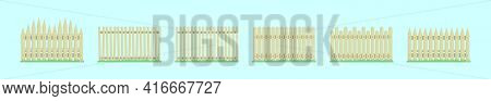 Set Of Picket Fence Cartoon Design Template With Various Models. Modern Vector Illustration Isolated
