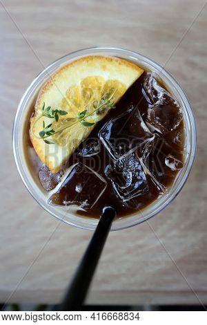 Juice, Orange Juice And Espresso Or Black Orange Coffee, Orange Juice Espresso