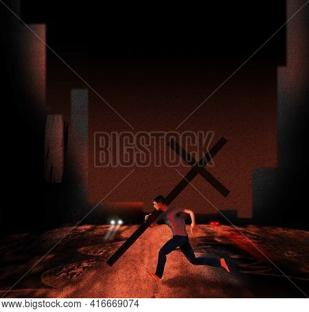 A Man Carries A Large Christian Cross As He Runs Across An Urban Street At Night In This 3-d Illustr