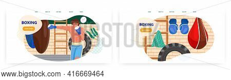 Boxing Landing Page Design, Website Banner Vector Template Set. Man Boxer Punching Heavy Bag. Boxing