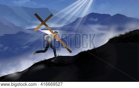 A Young Man Is Seen Bearing A Large Wooden Cross As He Runs Up A Ridge On A Mountain In This 3-d Ill