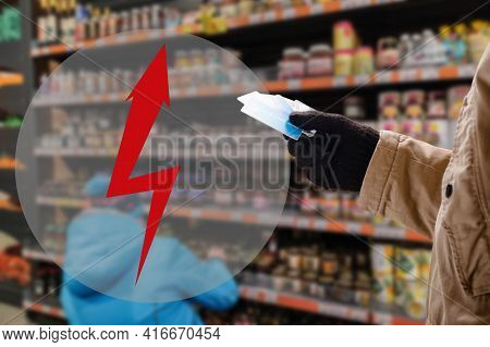 Man Doing Purchases In Grocery Shop With Credit Card. Lightning Arrow As A Symbol Of Warning, Attent
