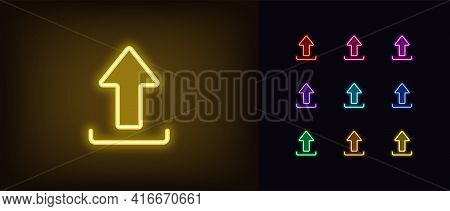 Neon Upload Icon. Glowing Neon Upload Sign, Outline Arrow Pictogram In Vivid Colors. Online Data Sav