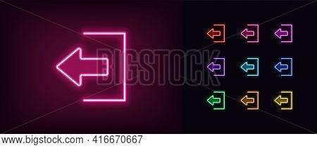 Neon Logout Icon. Glowing Neon Exit Sign, Outline User Quit Pictogram In Vivid Colors. Online Access