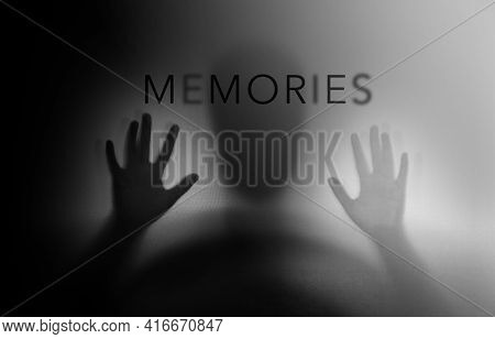 Conceptual Photo. Motion Blurred Image. Silhouette Of Senior Elderly Person Who As Parkinson Or Alzh