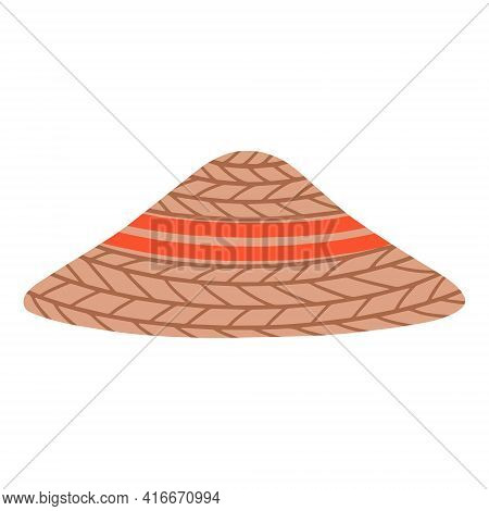 Straw Asian Conical Hat. The Headdress Of A Farmer Or Agricultural Worker.traditional Chinese Or Vie