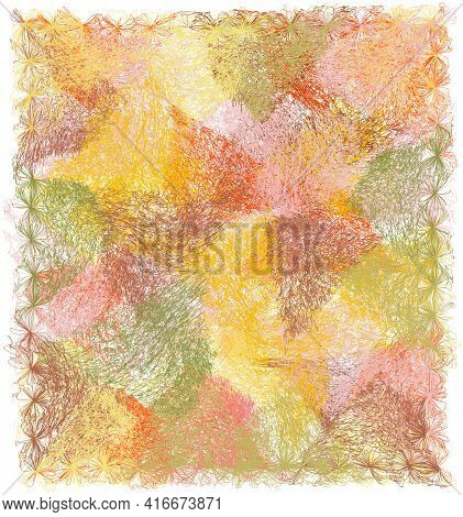 Fluffy Mat, Carpet, Rug, Plaid, Taperstry With Grunge Weave Colorful Elements And Decorative Fringe