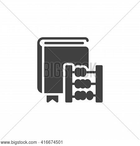 Arithmetic Book Vector Icon. Filled Flat Sign For Mobile Concept And Web Design. Book And Abacus Gly