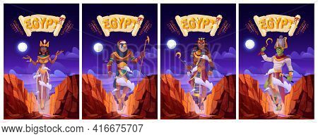 Cartoon Posters With Egyptian Gods Amun Ra, Horus, Pharaoh And Queen Cleopatra. Ancient Egypt Deitie
