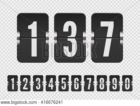 Set Of Black Flip Numbers On A Mechanical Score Board. Vector Template For Your Design.