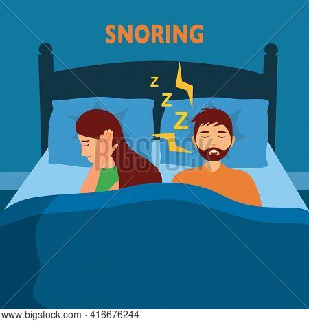 Snoring Husband Annoying Wife With Loud Noise In Bedroom Vector Illustration. Snore Health Problem.