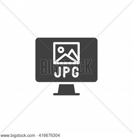 Jpg File Format Vector Icon. Filled Flat Sign For Mobile Concept And Web Design. Computer Monitor Wi