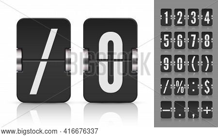 Vector Old Time Meter Of Numbers And Symbols. Analog Flip Airport Board Countdown Timer. Retro Score