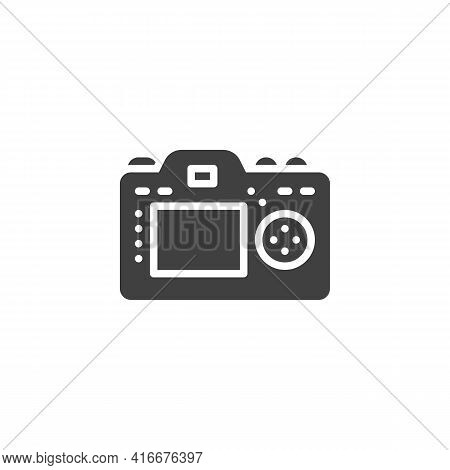 Camera Display Vector Icon. Filled Flat Sign For Mobile Concept And Web Design. Photo Camera Back Si