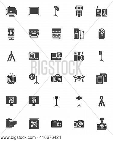 Photography Equipment Vector Icons Set, Modern Solid Symbol Collection, Filled Style Pictogram Pack.