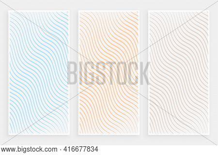 Subtle Minimalist Curvy Flowing Lines Pattern Banners Set