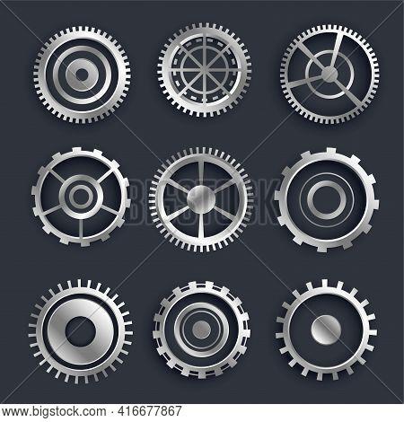 3d Metallic Cog And Gears Set Of Nine Design