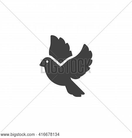 Flying Dove Vector Icon. Filled Flat Sign For Mobile Concept And Web Design. Dove Bird Glyph Icon. S