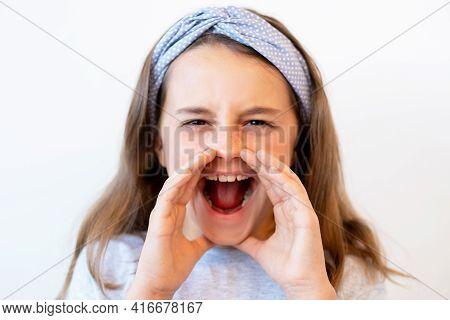 Yelling Child Portrait. Attention Seeking Behavior. Communication Problem. Mad Anxious Little Girl S