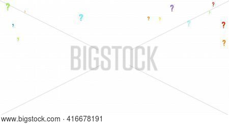 Question Marks Scattered On White Background. Quiz, Doubt, Poll, Survey, Faq, Interrogation, Query B