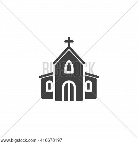 Church Vector Icon. Filled Flat Sign For Mobile Concept And Web Design. Church With Holy Cros Glyph