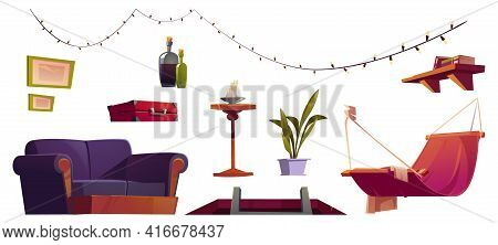 Set Of Attic Furniture And Stuff Hatch With Ladder, Hammock, Light Garland And Sofa, Decorative Pict