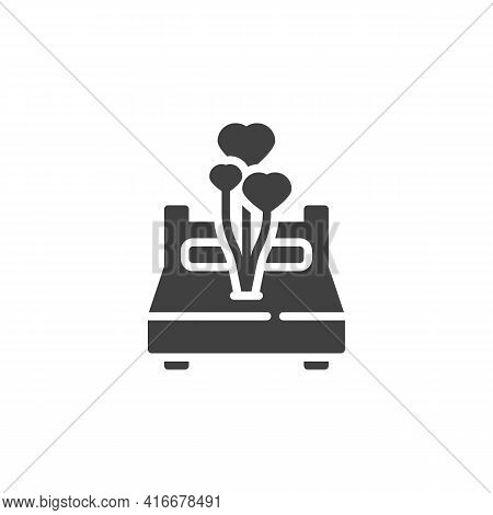 Newlyweds Bed Vector Icon. Filled Flat Sign For Mobile Concept And Web Design. Bed With Hearts Ballo