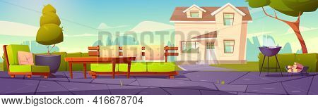 House Backyard, Patio With Sofa, Table And Cooking Grill For Bbq. Suburban Cottage With Green Lawn,