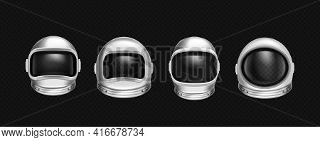 Astronaut Helmets, Cosmonaut Mask With Clear Glass For Space Exploration And Flight In Cosmos. Vecto