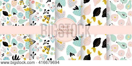 Abstract Seamless Pattern Set With Fruits And Berries. Hand Drawn Paper Cut Texture. Geometry Figure
