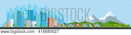 Landscape With Buildings, Mountains And Hills. City Concept And Suburban Life. City Street, Large Mo